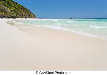 White sand beach with blue sky