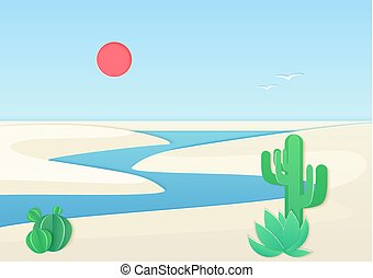 White sand desert landscape with oasis river. Vector gradient color illustration.