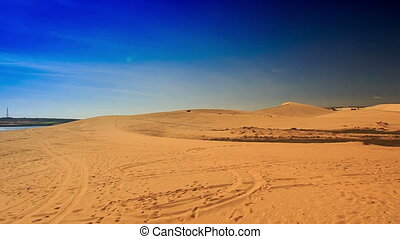 White Sand Dune Distant Quad - panorama of white sand dunes...
