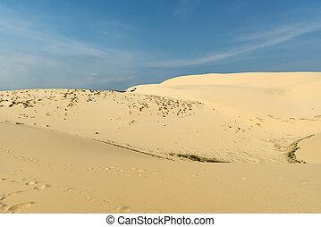 White sand dunes with blue skies, Mui Ne, Vietnam