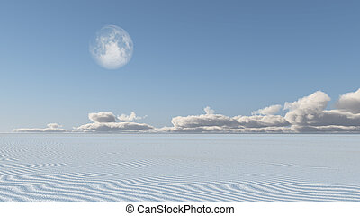 White Sand Flat Desert with Moon
