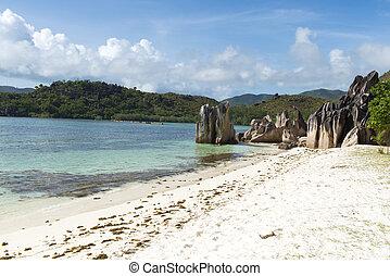White sandy beach in Seychelles, Denis private island, Indian Ocean