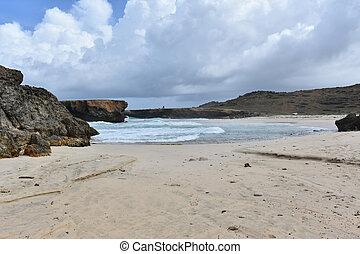 White Sandy Deserted Beach on the East Coast of Aruba