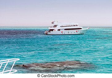 White sandy island Maldives Atoll Motor Yacht
