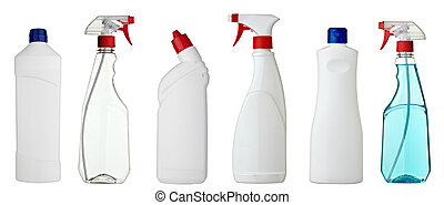 collection of various sanitary bottles on white background. each one is shot separately