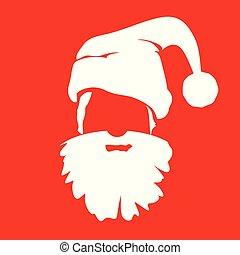 white santa silhouette on red