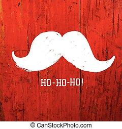 White Santa's Moustache and Ho-Ho-Ho! words. Christmas funny car