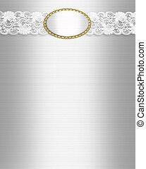 White satin and lace invitation