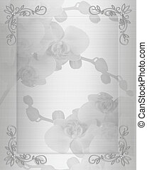 White satin orchids Wedding invitation