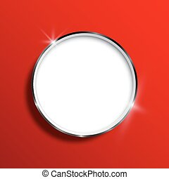 White saucer on a red background. Vector illustration
