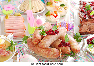 white sausage with beetroot sauce for easter