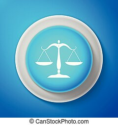 White Scales of justice icon isolated on blue background. Court of law symbol. Balance scale sign. Circle blue button with white line. Vector Illustration