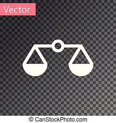 White Scales of justice icon isolated on transparent background. Court of law symbol. Balance scale sign. Vector Illustration