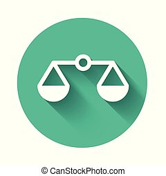 White Scales of justice icon isolated with long shadow. Court of law symbol. Balance scale sign. Green circle button. Vector Illustration