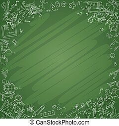White school icons with blackboard background