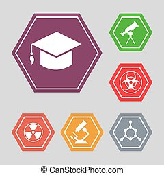 White science vector icons - molecule, hat, microscope