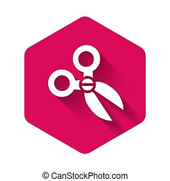 White Scissors icon isolated with long shadow. Cutting tool sign. Pink hexagon button. Vector