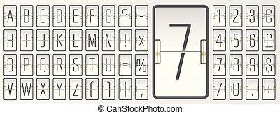 White scoreboard font for showing flight departure information.