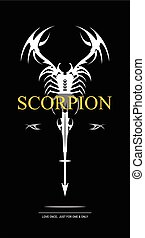 white scorpion. - white scorpion on black background....