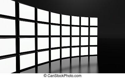 White screen video wall of many cubes