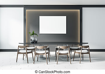 White screen with copyspace in the center of dark wall panel with lights around and big table with modern wooden chairs on ceramic floor tiles. Mockup