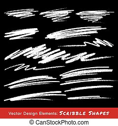 White Scribble Smears Hand Drawn in Pencil , vector logo...