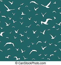 White seagulls flying in the sky seamless pattern