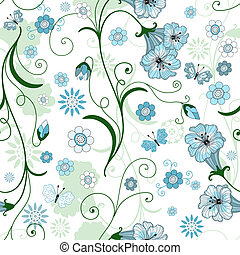 White seamless floral pattern with blue flowers and...