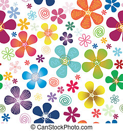 White seamless floral pattern with vivid  flowers (vector)