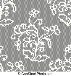 White seamless lace pattern on a gray background.