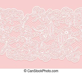 White seamless lace pattern on a pink background. Horizontal lacy tape for design.