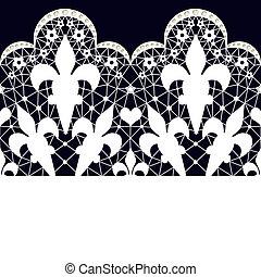 White seamless lace pattern on black