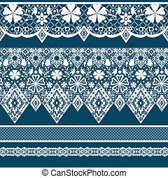 White seamless lace pattern on blue