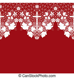 White seamless lace pattern with cross on red