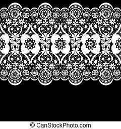 White seamless lacy lace pattern on black