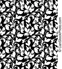 White seamless pattern, vector silhouette