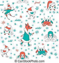 White seamless pattern winter fun