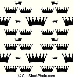 white seamless pattern with black crown. vector