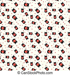 seamless pattern with cat with heart. vector.