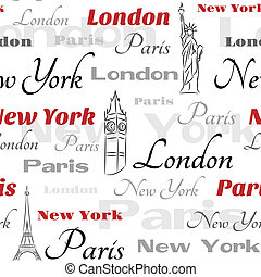 White seamless pattern with symbols of cities
