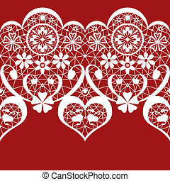 White seamless valentine lace pattern on red