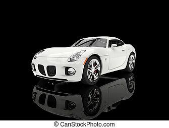 White Sedan On Black Background