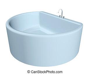 White semi-circular modern bathtub
