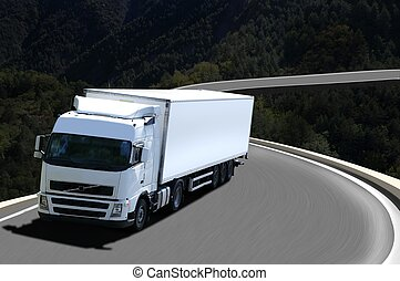 white semi truck in mountain
