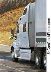 White Semi Truck - Tractor Trailer Close Up