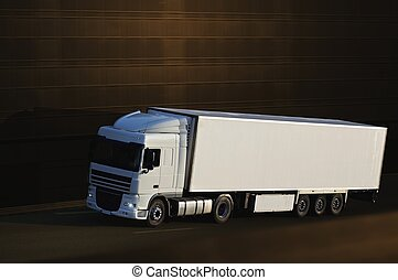 white semi truck with brown background