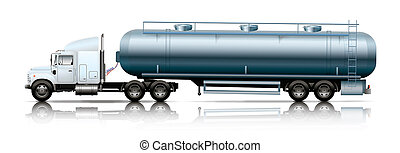 white semi-truck with tanker