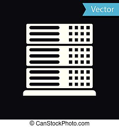 White Server, Data, Web Hosting icon isolated on black...