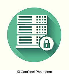 White Server security with closed padlock icon isolated with long shadow. Security, safety, protection concept. Green circle button. Vector Illustration