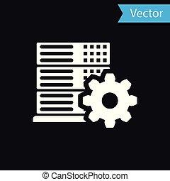 White Server setting icon isolated on black background. Vector Illustration